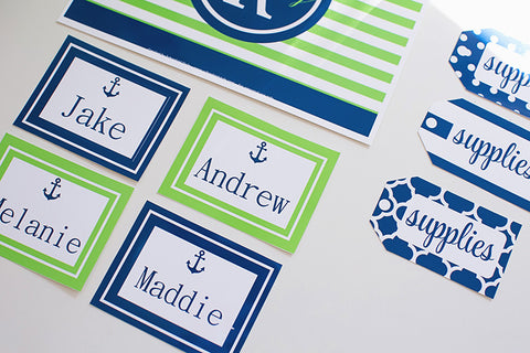 Preppy Nautical Lime Green and Navy Blue Multipurpose Labels