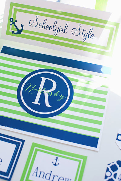 Preppy Nautical Lime Green & Navy Blue Nameplates