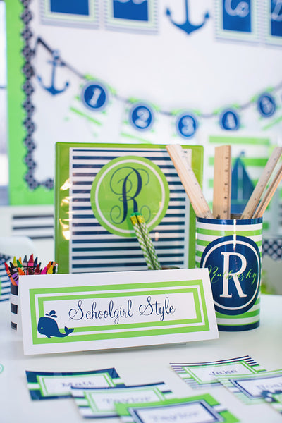 Preppy Nautical Lime Green & Navy Blue Binder Covers