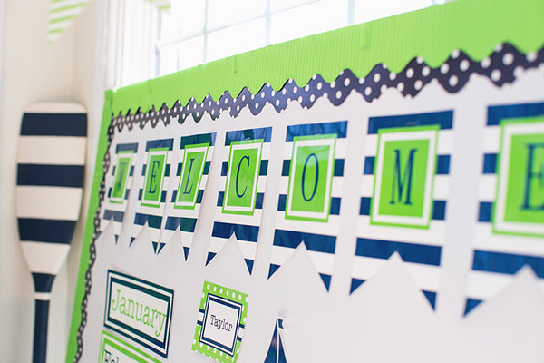 Preppy Nautical Lime Green & Navy Blue Banner Letters