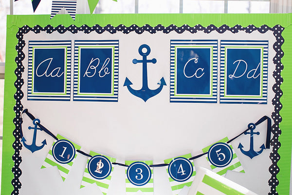 Preppy Nautical Lime Green &  Navy Blue - Full Collection