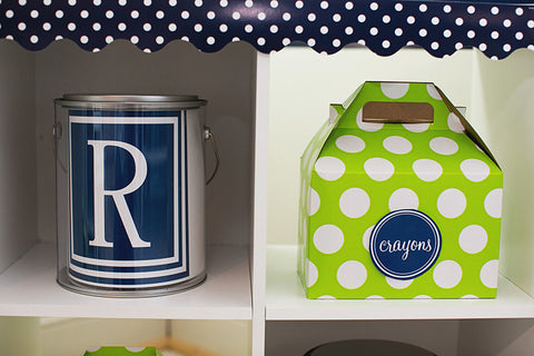 Preppy Nautical Lime Green and Navy Blue Can Covers