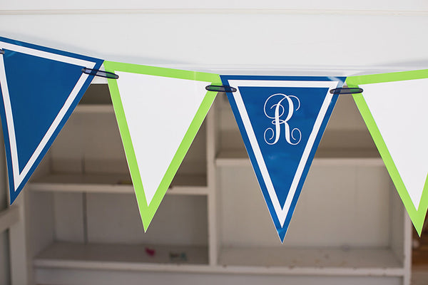 Preppy Nautical Lime Green & Navy Blue Pennants