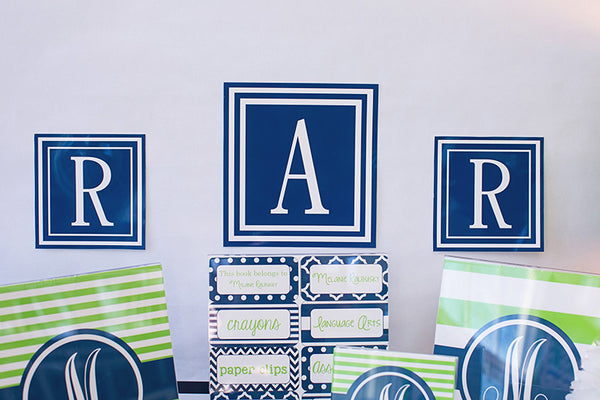 Preppy Nautical Lime Green & Navy Blue Square Monogram Letters