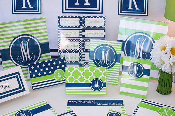 Preppy Nautical Lime Green and Navy Blue Stationary Set