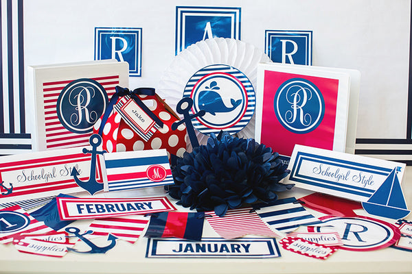 Preppy Nautical Red and Navy Blue Binder Covers