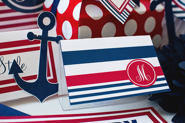 Preppy Nautical Red and Navy Blue Stationary Set