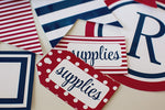 Preppy Nautical Red and Navy Blue Luggage Tags {UPRINT}