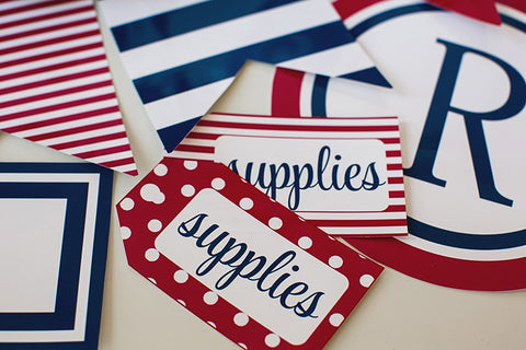 Preppy Nautical Red and Navy Blue Luggage Tags