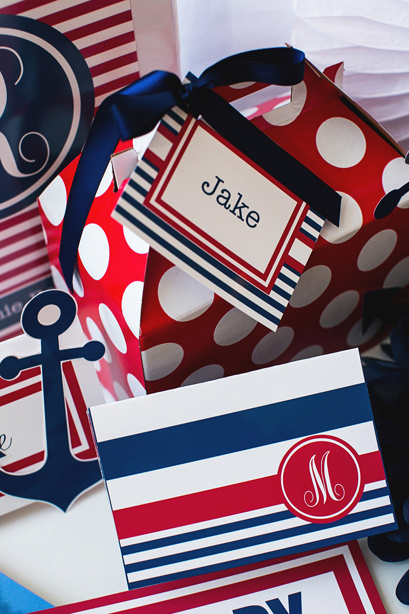 Preppy Nautical Red and Navy Blue Multipurpose Labels {UPRINT}