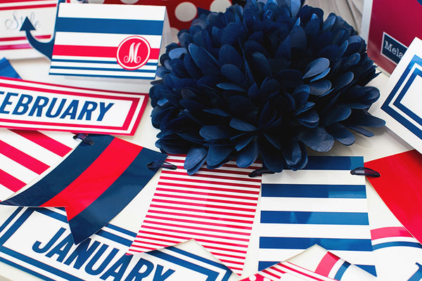 Preppy Nautical Red and Navy Blue Calendar Months {UPRINT}