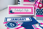 Preppy Nautical Hot Pink and Navy Blue Nameplates {UPRINT}
