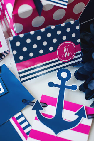 Preppy Nautical Hot Pink and Navy Blue Stationary Set