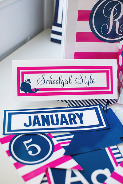 Preppy Nautical Hot Pink and Navy Blue Nameplates
