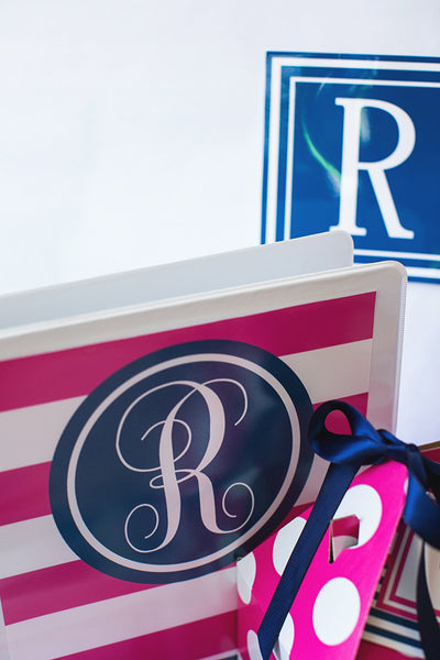 Preppy Nautical Hot Pink and Navy Blue Binder Covers