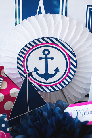 Preppy Nautical Hot Pink and Navy Blue Table/Center Signs