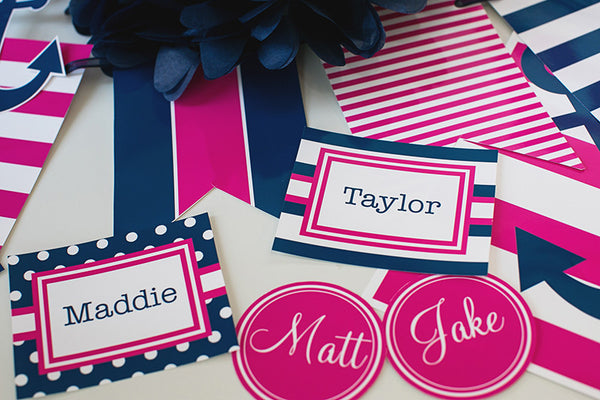 Preppy Nautical Hot Pink and Navy Blue 3 inch Round Labels