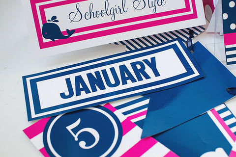 Preppy Nautical Hot Pink and Navy Blue Calendar Headers