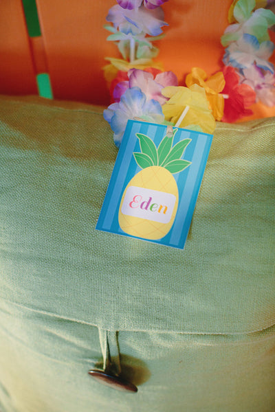 Luau Pineapple Name Tags