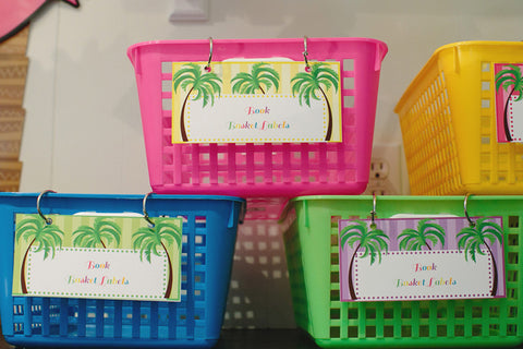 Luau Book Basket Labels