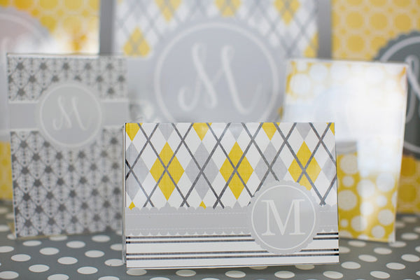 Yellow & Gray Stationary Set