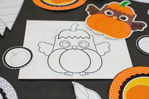 Color My Classroom Peeking Owl Pumpkin Art Project and *BONUS* Cut Outs {UPRINT}