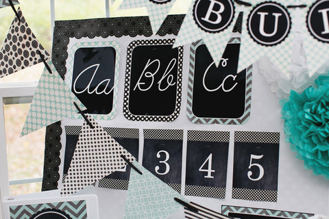 Turquoise Black and Gray Alphabet