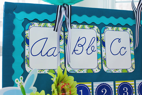 Paisley, Turquoise, Blue & Green Cursive Alphabet Cards {UPRINT}