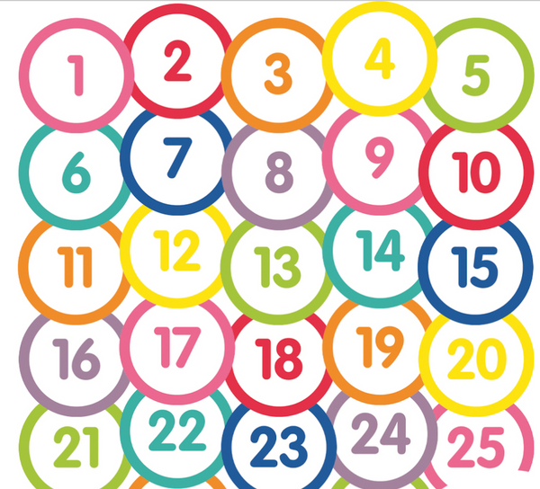 Just Teach - Number Circles 1-31 White
