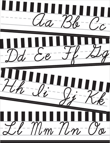 Black and White - Cursive Alphabet Lines {U PRINT}