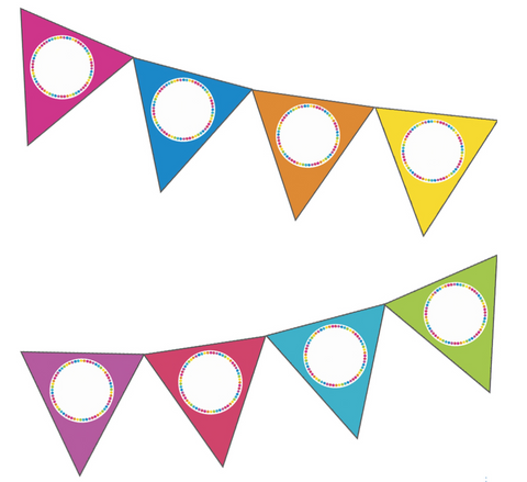 Just Teach - Rainbow Pennants (Editable) NEON