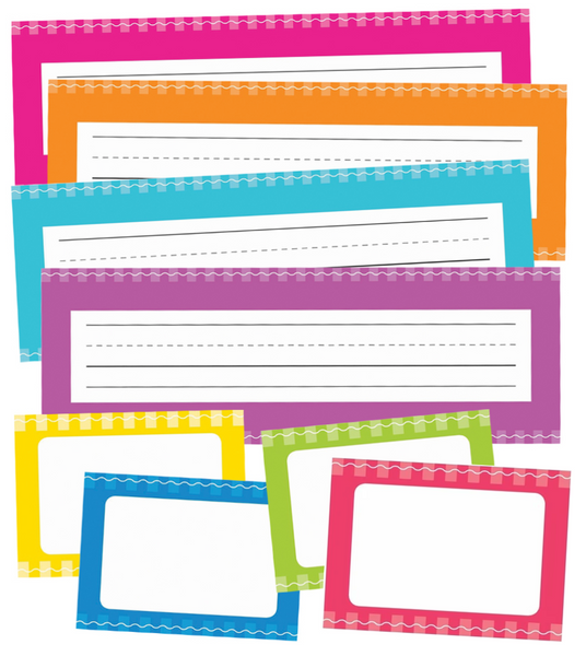 Just Teach - Early Childhood Nameplates AND Name Tags NEON {UPRINT}