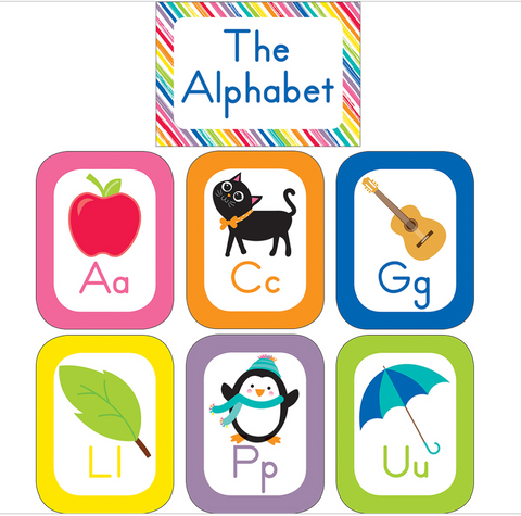 Schoolgirl Style - Just Teach Alphabet Cards with Images Bulletin Board Set