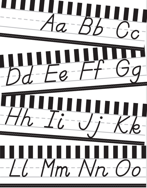 Just Teach Black and White - Alphabet Lines  - D'Nealian
