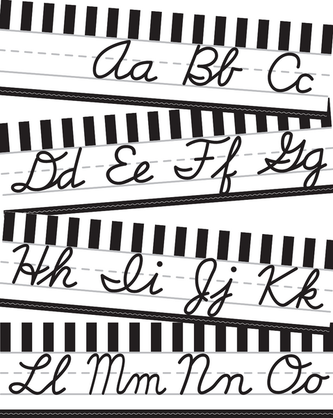 Just Teach Black and White - Alphabet Lines  - Cursive Dnealian