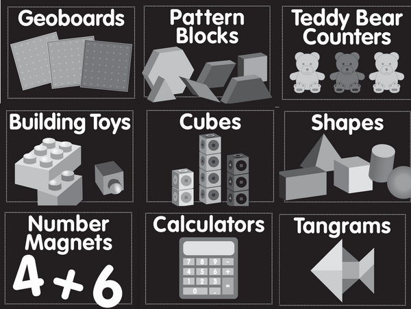 Just Teach Black and White- Math Supply Labels