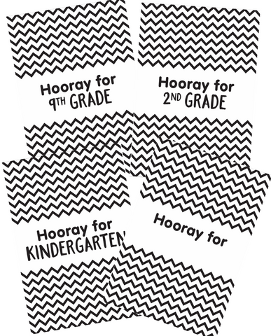 "Just Teach Black and White ""Hooray"" Poster Set {U PRINT}"