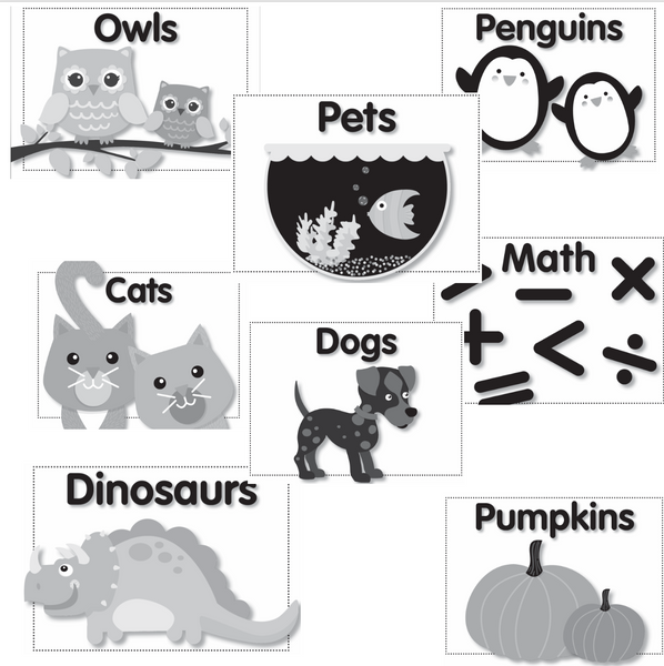 Just Teach - Black and White Classroom Library Labels