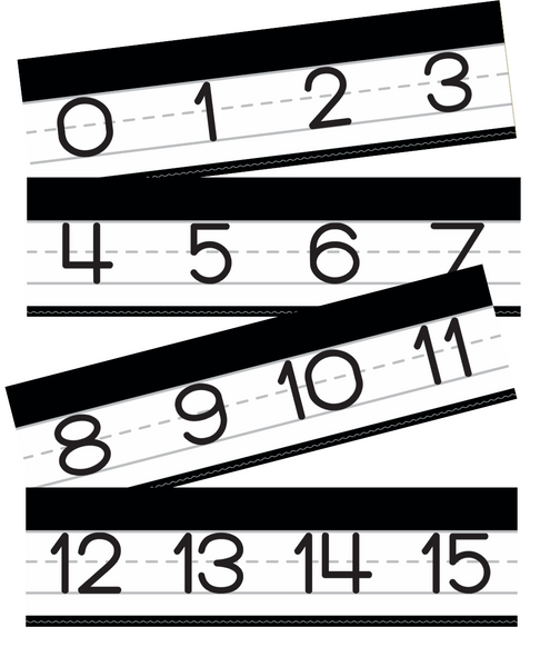 Just Teach Black and White - Manuscript Number Line 0-120 {U PRINT}