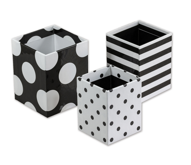 Schoolgirl Style - Little Black Desk Set Black and White Pencil Cups