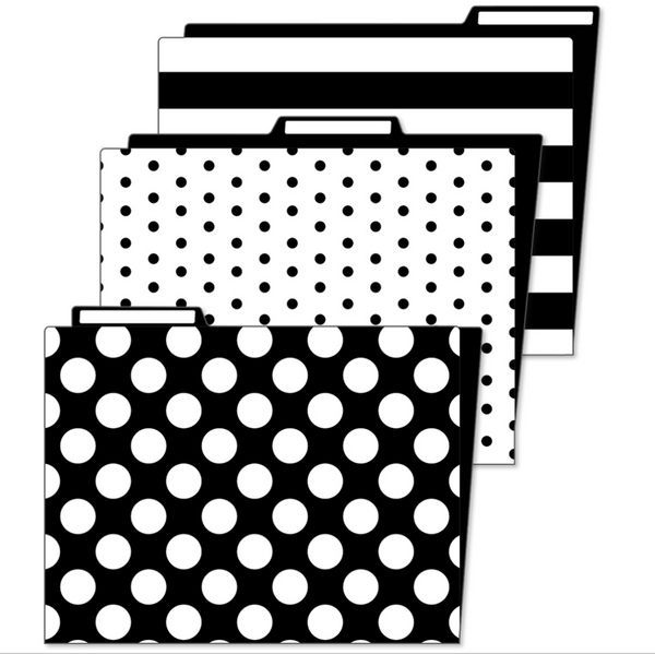 Schoolgirl Style - Little Black Desk Set Black and White File Folders