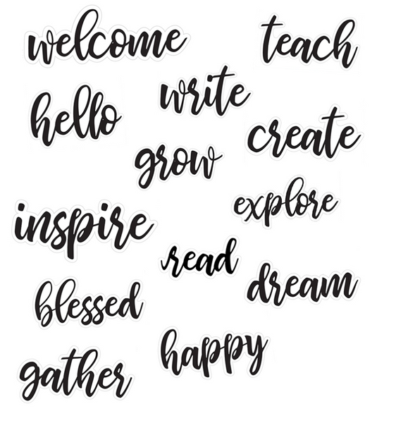 Bulletin Board Script Words (Small Font) {UPRINT}