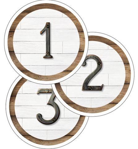 Industrial Chic Farmhouse Classic Number Circles {U PRINT}