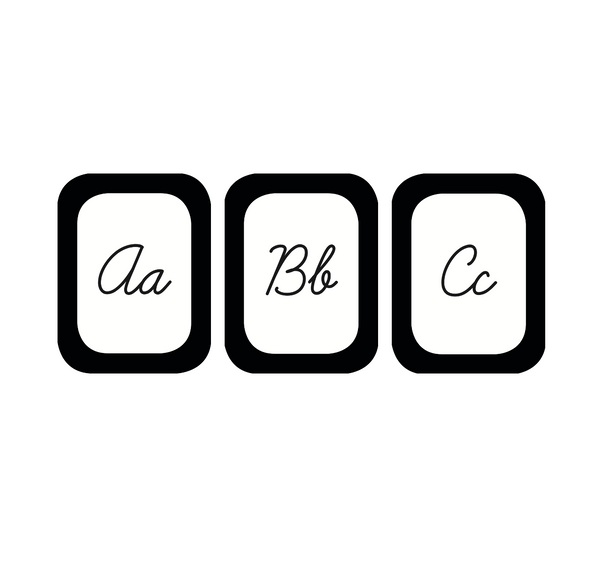 Black, White and Stylish Brights Cursive Alphabet Cards
