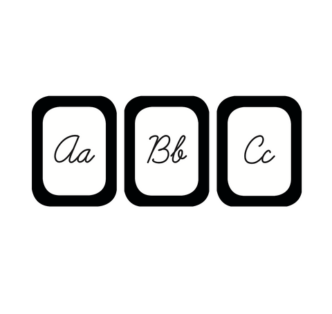 Black, White and Stylish Brights Cursive Alphabet Cards {U PRINT}