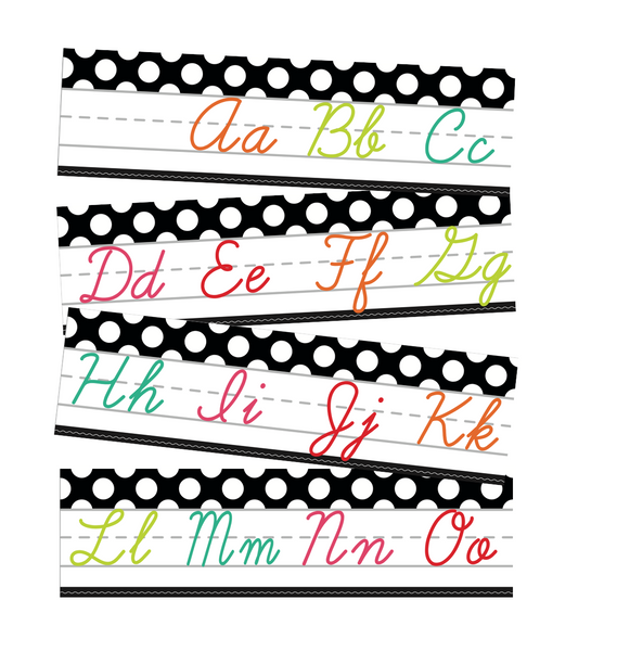 Black, White and Stylish Brights Alphabet Line Cursive (Black) {U PRINT}