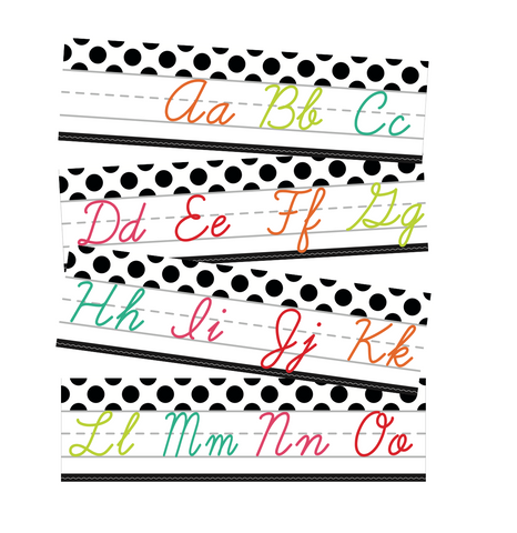 Black, White and Stylish Brights Alphabet Line Cursive (White) {U PRINT}