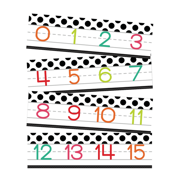 Black, White and Stylish Brights Number Line (White) {U PRINT}
