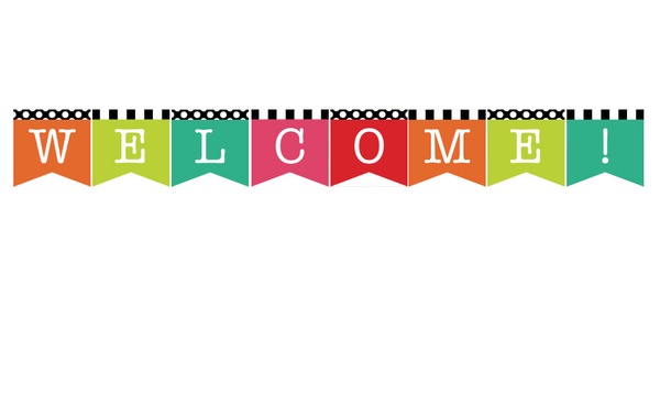 Black, White and Stylish Brights 2 Point Welcome Banner {U PRINT}