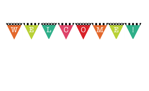Black, White and Stylish Brights Pennant Banner